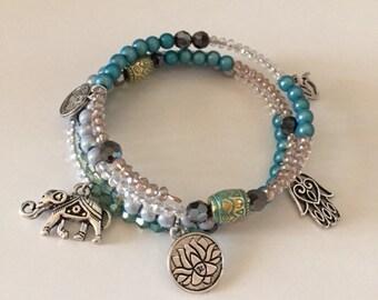 Wrap bracelet with pendants in ethno-still