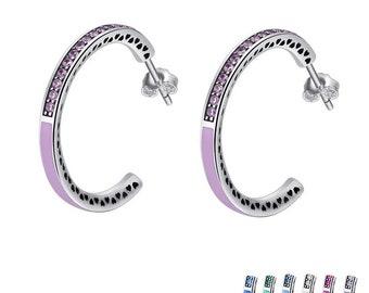 Radiant Hearts Enamel Hoop Earrings