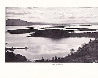 1900 Landscape Photograph - Loch Lomond Scotland - Antique Vintage Nature Art Photo Illustration for Framing 100 Years Old