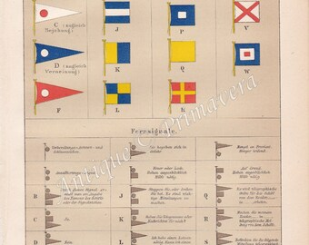 1894 International Maritime Signal Flags and Remote Signals by the International Code of Signals Original Antique Chromolithograph