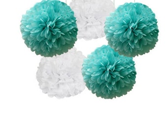 Tiffany Blue and White Tissue Paper Pom Poms 5 Piece Set, Tiffany Wedding decor, Show, Tiffany blue Party Decorations