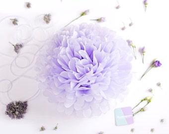 Paper pom pom in mist / pastel pale purple color -  wedding decorations / party decor/ nursery decor/ bridal baby shower