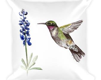 Hummingbird and Bluebonnet Square Pillow