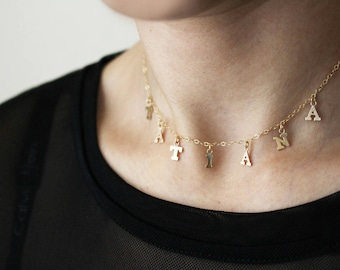 Personalized Name Necklace / Initial Choker Necklace / Name Choker / Custom Name Necklace