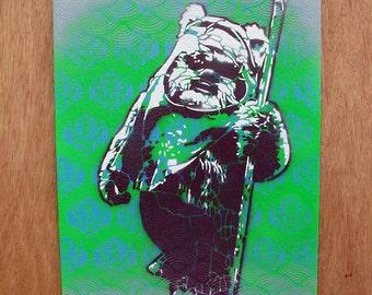 Ewok Multilayer Graffiti Stencil Art on Canvas Board 11x14
