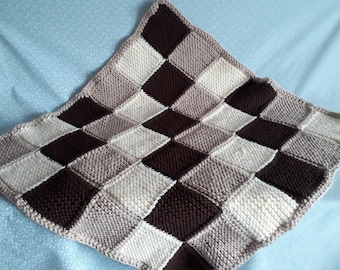 Hand knitted chunky patchwork baby blanket - chocolate, cream and light natural