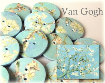 "Van Gogh Buttons - Almond Blossom - 18mm, 22mm or 24mm - 2/3"", 7/8"" or 1"" - Australian Made - Handcrafted - Designer Buttons  - Aqua"