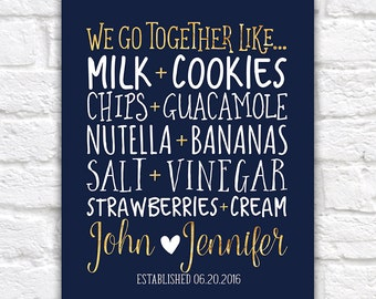 Personalized Kitchen Art, Home Decor Food Pairings, We Go Together Like - New Home Navy and Gold, Gift for Boyfriend, Anniversary | WF281