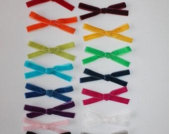 Velvet Bows~Velvet bow headband~Girls Hair Bow~Fabric Bow~Baby Bows~Hand Tied Bow~Baby headband ~baby girl ~toddler girl