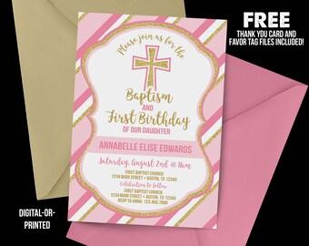 Baptism First Birthday Invitation, First Birthday Invitation, pink and gold Birthday, 1st Birthday Invitation, Baptism birthday, church