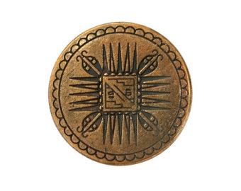 3 Mayan 7/8 inch ( 23 mm ) Metal Buttons Brass  Color