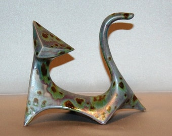 Modern Cat in Green Lavender Crystal Glaze (Right cat) from 1960's vintage mold that my grandmother gave me