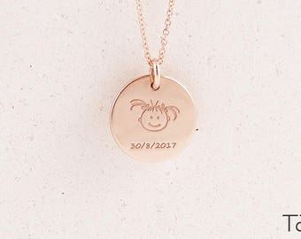 Baby Girl Necklace, Push Gift, Baby Shower Gift, Mom Gift, Mother Gift, Birth Date Gift, Girl Pendant, Rose Gold Necklace, Gift For Birth