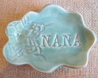 Nana cloud ring holder, jewelry dish, Grandmother gift, Mothers day gift, Nana gift, ceramics and pottery, In Stock