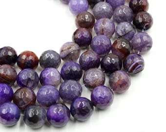 Purple agate - 15 mm round beads - full strand - 22 beads - 15 inch