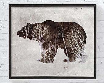 Bear In The Woods, Bear Art Print, Bear Artwork, Bear Wall Art, Forest Animal, Cabin Decor, Animal Prints, Trees, Woodland Nursery Decor