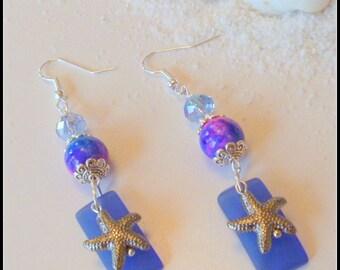 Sea Blue Sea Glass Earrings with Starfish Charms