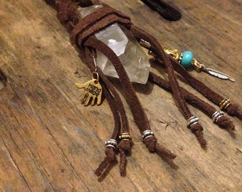 Spiritual Healer Crystal Keyring - Chocolate Brown
