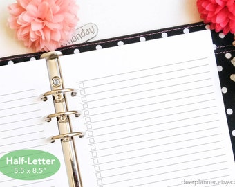 Lined checklist insert - Printed half letter planner insert - Lined planner refill - Notes to-do list insert - Half letter A5 insert - 09H