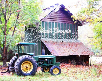 John Deere Tractor.Country Rustic Landscape Architecture Photography.Printable Download.Fall.Autumn.Tractor Photography.Farm Photography