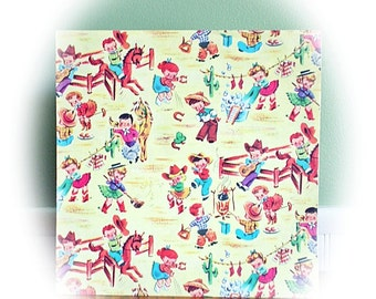 Vintage 1950's Wrapping Paper, Gift Wrap...Lot of Five (5) Sheets