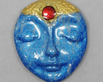 Face Cabochon, Blue, Gold, Red,  Sleeping Face, Polymer Clay Cabochon, Handmade Cabochon, Art Doll Face