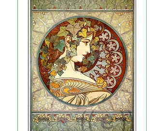 fabric panel - painting by Alphonse Mucha (7). For sewing, patchwork, quilting.