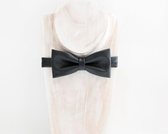 Black faux leather bow tie, black leather mesh