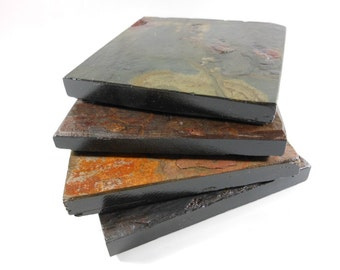 Slate Coasters: HAPPY ACCIDENT SET - 4 Assorted Colors with Black Edges & Varnished to Enhance Natural Colors, Handmade Stone Drink Coasters
