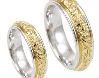 14K White and Yellow Gold Wedding Band with Engraving, Wedding Ring, Comfort Fit Promise Ring