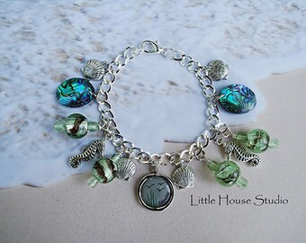 Serenity Sea Bracelet  Sea Glass bracelet Ocean bracelet Sea Horse bracelet Sea Shell Bracelet