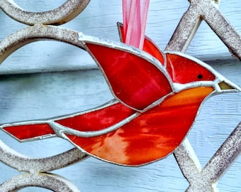 Gift for mom, red cardinal 3D stained glass bird window hanging ornament, garden ornament decor, gift for grandmom, aunt, hostess gift