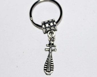 Silver Lute Musical Instrument Key Chain Key Ring Key Holder Key Fob KC-Gen127