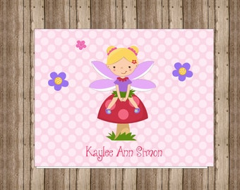 PERSONALIZED NOTECARDS for GIRLS / Cute Pink Polka Dot Fairy Notecards Boxed/Pink Polka Dot Girls Stationery/Set of 10/Fairy Thank You Cards
