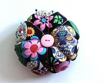Handmade Pin Cushion, Sewing Gift, Sewing Accessory, Sugar Skull, Gift for Her, Mothers Day Gift