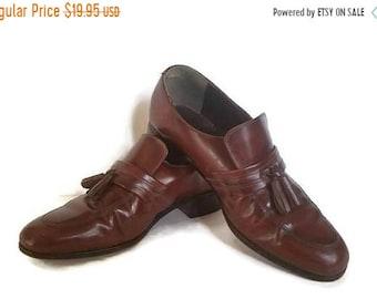 Jarman, brown leather tassel moccasin loafer shoes, mens size 9.5D, leather upper, mens leather slip on loafers