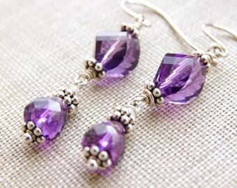 Amethyst Earrings Jewelry Purple Dangle AAA Gemstone Faceted Sterling Silver February Birthday Birthstone Grape Bridesmaid Vineyard Wedding