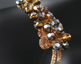 Juliana Brown Crystal Dangle Brooch with Brown Rhinestones, DeLizza Elster Pin, Verified Book Piece