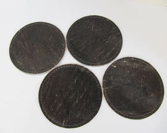 Black Hair on Hide Leather Coasters