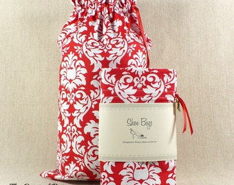 Damask, Shoe Bags, Red Damask, Lingerie, Travel, Limited Edition, cotton drawstring bag, 2 bags