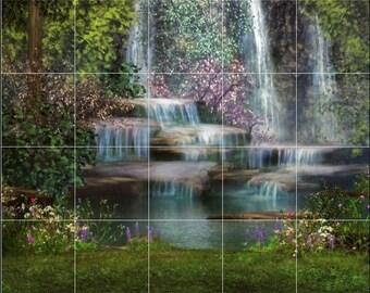 24 x 30 Ceramic Tile Mural or Backsplash, Waterfalls and Flowers 437