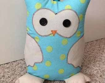 Blue with lime spot Owl doorstop