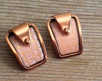 Modernist Abstract Earrings, Vintage MATISSE Copper Pink Enamel Earrings, MCM Copper Jewelry, Copper Clip Earrings, Matisse Jewelry