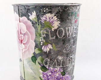 Hand Painted Outdoor, Indoor, Tin Planter,dark grey, roses lilacs and sweet pea