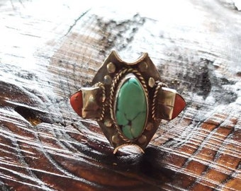 Sterling Silver Turquoise Coral Ring!