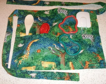Jungle Critters Apron for Children with Utensils Included