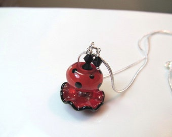 Necklace red & black ruffle and polka dot glass lampwork beads, black crystals