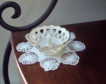 Vintage Jewelry Storage Lenox Heart Cut Porcelain Ring Dish