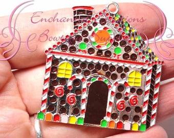 "1.75"" Brown Gingerbread House Christmas Charm, Holiday Santa Chunky Pendant, Keychain, Bookmark, Zipper Pull, Chunky Jewelry, Purse Charm"