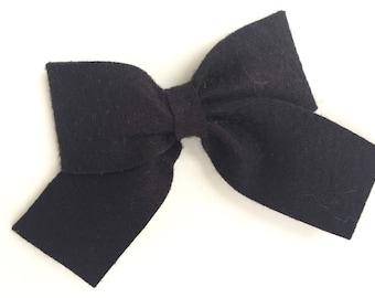 Black felt hair bow - felt bows, hair bows, bows, hair clips, hair bows for girls, baby bows, hair clips for girls, felt hair bows, hairbows
